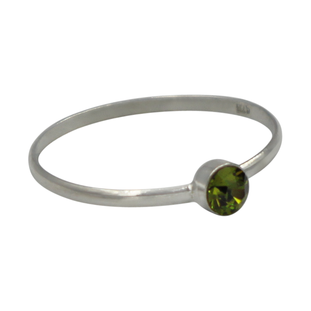 Simple Peridot Cubic Zirconia small stone extra thin Ring. Available in multiple colours.
