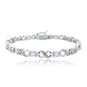 10.00 CT Genuine Amethyst Infinity Bracelet w/ Swarovski Crystals in 18K White Gold