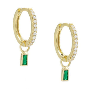 Pave Mini Dainty Emerald Stud Earringin 18K Gold Plated