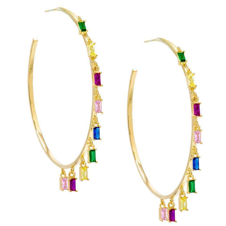 "Pave Mini Baugette Dainty Rainbow 1.4"" Hoop Earring Embellished with Swarovski Crystals in 18K Gold Plated"