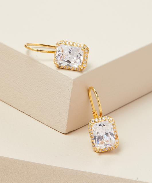 Emerald Cut Swarovski Elements Leverback Earrings in 14K Gold Plating