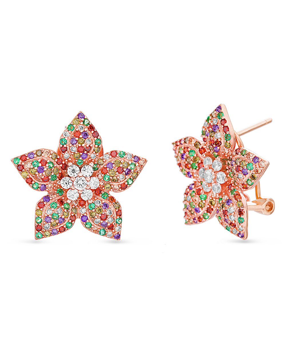 Swarovski Crystal Rainbow Flower Stud Earring in Rose Gold