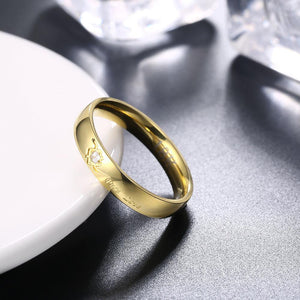 "18K Gold Plated Mini Scribed ""Pure love"" Ring"