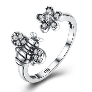 Sterling Silver Swarovski Bumble Bee Adjustable Ring