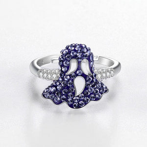 Sterling Silver Purple Swarovski Mushroom Ring