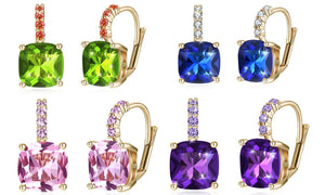 Asscher Cut Leverback Earrings Set in 18K Gold Plating Made with Swarovski Crystal
