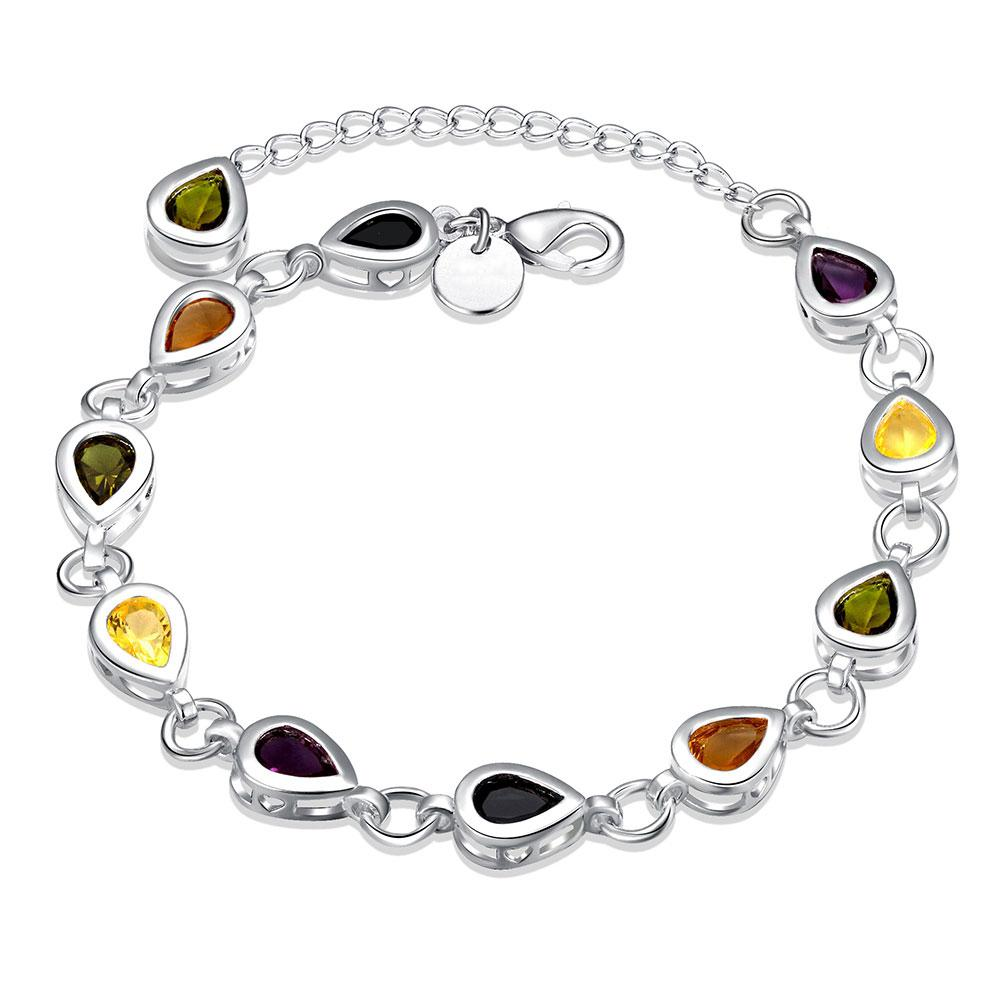Rainbow Swarovski Pear Cut Bracelet in 18K White Gold