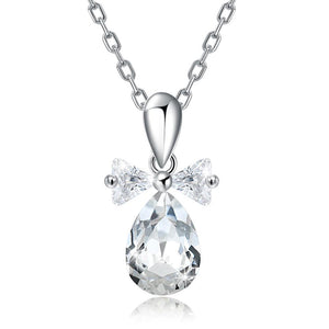 White Topaz Sterling Silver Swarovski Crystal Teardrop Necklace