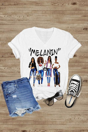 MELANIN Short Sleeve v Neck T-Shirt