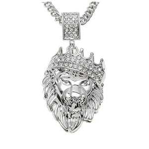 Pave King of the Jungle Lion Crown Pendant Medallion Necklace in 18K White Gold Plated