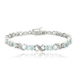 10.00 CT Genuine Blue Topaz Infinity Bracelet w/ Swarovski Crystals in 18K White Gold