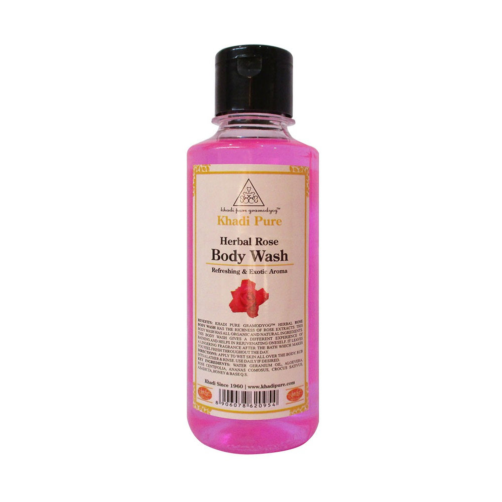 Herbal Rose Body Wash - 210ml-Khadi Pure