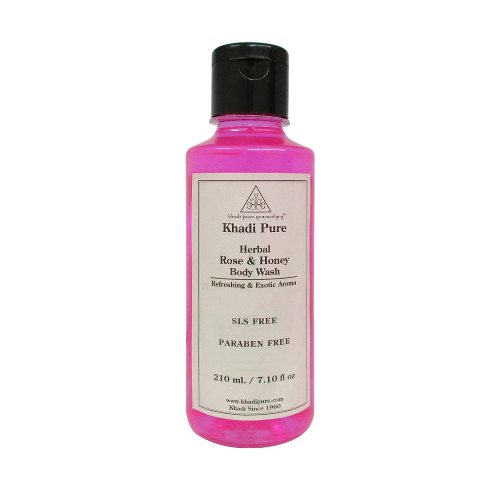 Herbal Rose & Honey Body Wash SLS-Paraben Free - 210ml-Khadi Pure