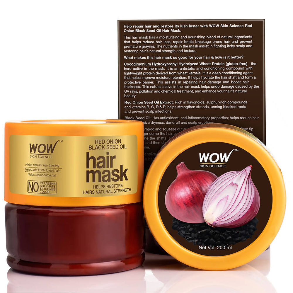 WOW Skin Science Red Onion Black Seed Oil Hair Mask - 200mL