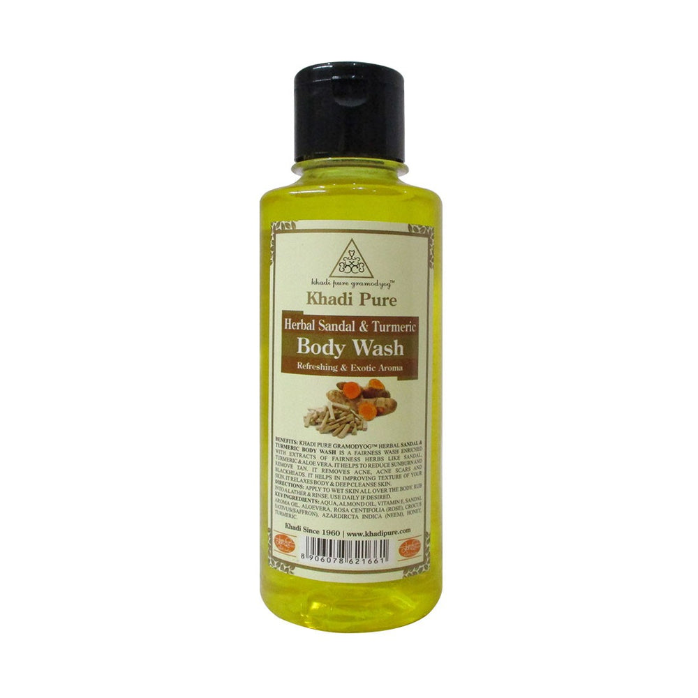 Herbal Sandal & Turmeric Body Wash - 210ml-Khadi Pure