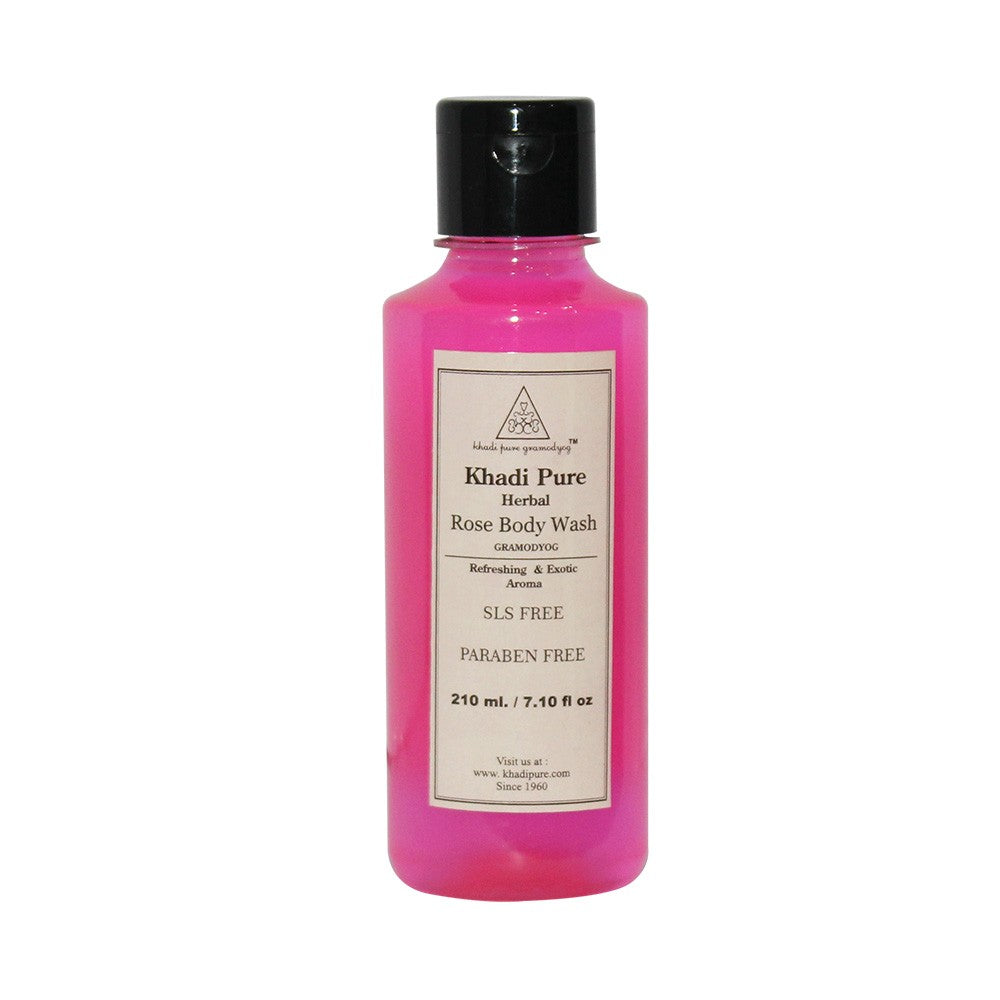 Herbal Rose Body Wash SLS-Paraben Free - 210ml-Khadi Pure