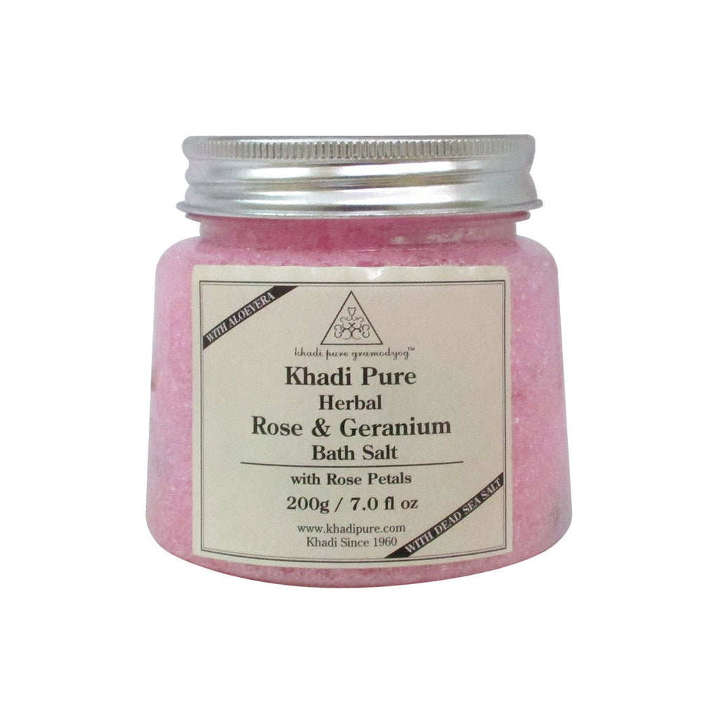 Herbal Rose & Geranium Bath Salt with Rose Petals - 200g-Khadi Pure
