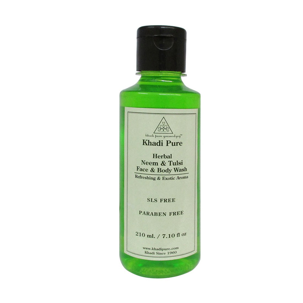 Herbal Neem & Tulsi Face and Body Wash SLS-Paraben Free - 210ml-Khadi Pure