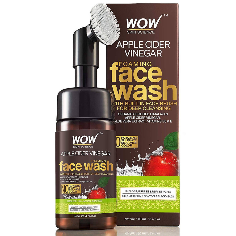 WOW Apple Cider Vinegar Foaming Face Wash - No Parabens, Sulphate and Silicones (With Built-In Brush), 100 ml