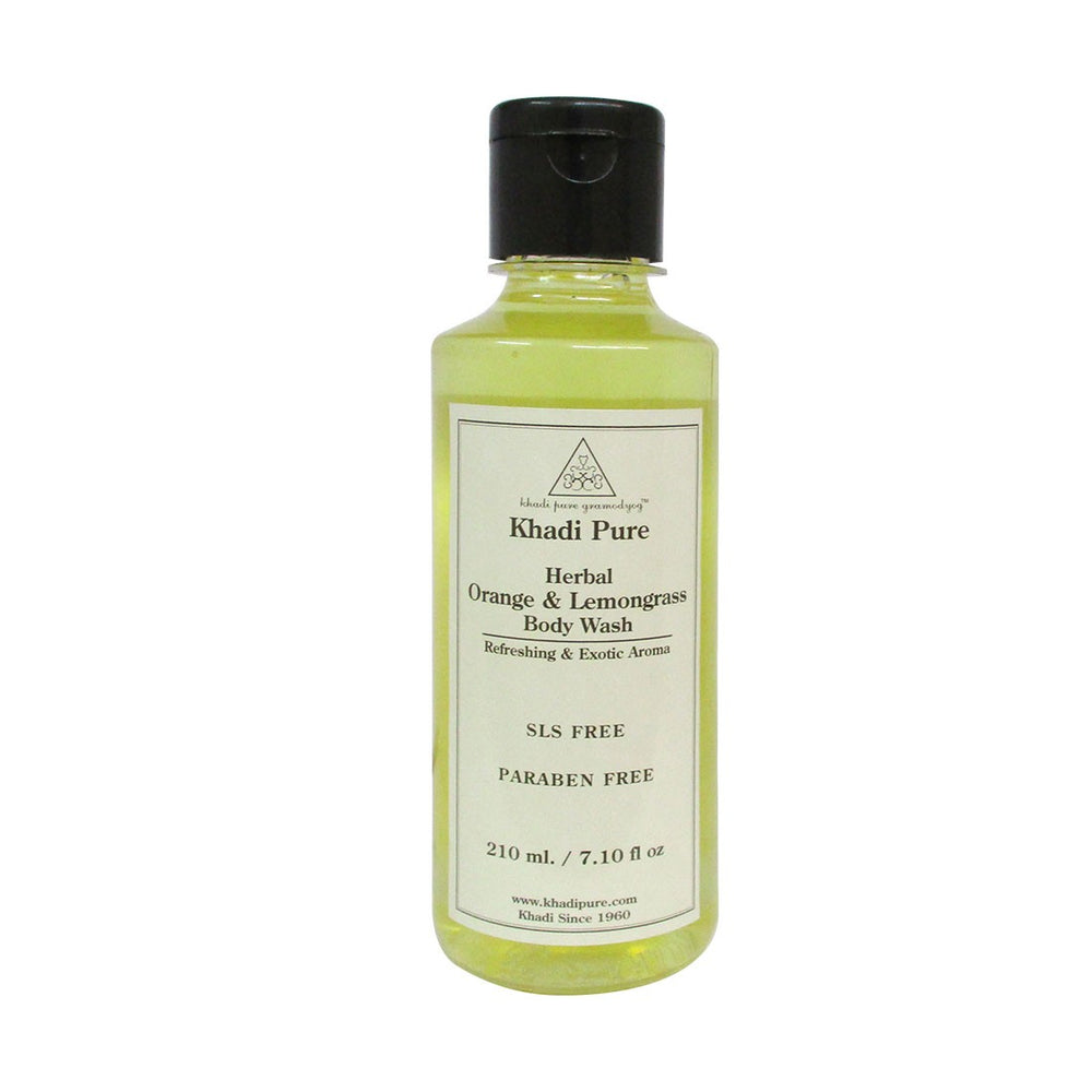 Herbal Orange & Lemongrass Body Wash SLS-Paraben Free - 210ml-Khadi Pure