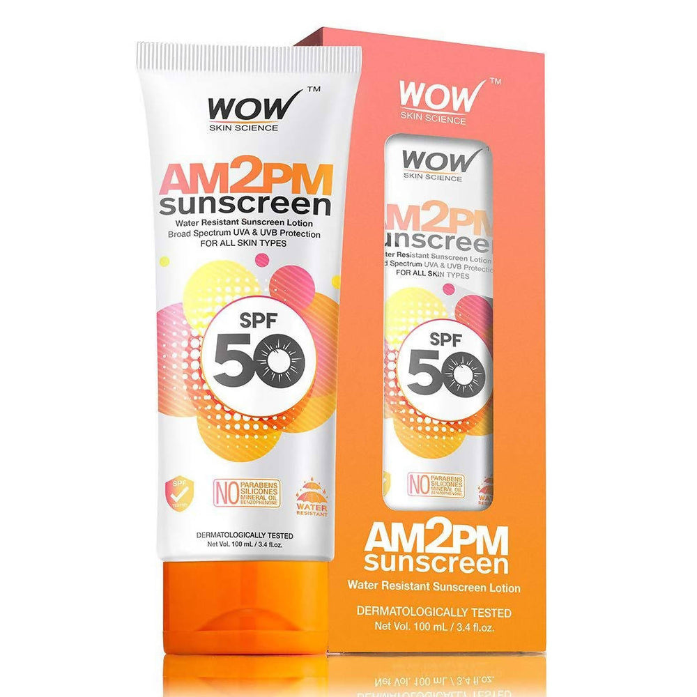 WOW Skin Science AM2PM Sunscreen SPF 50 Lotion, 100mL Tube