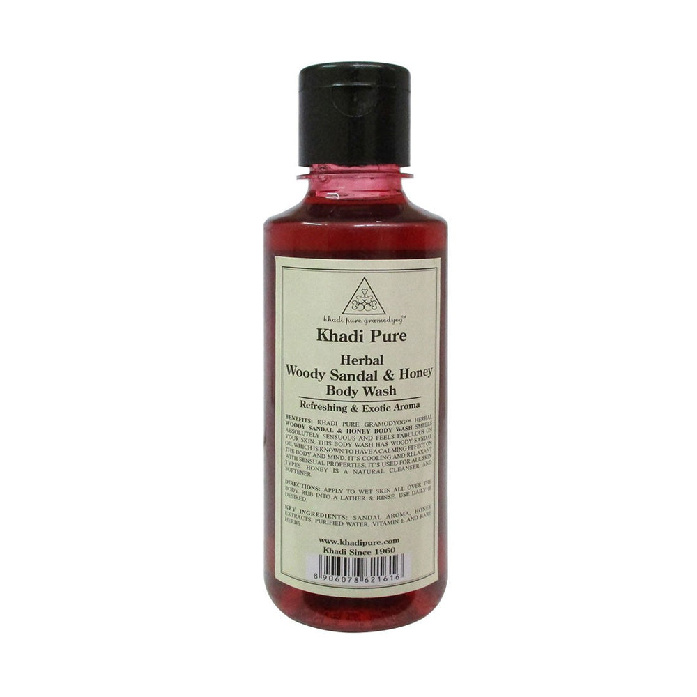 Herbal Woody Sandal & Honey Body Wash - 210ml-Khadi Pure