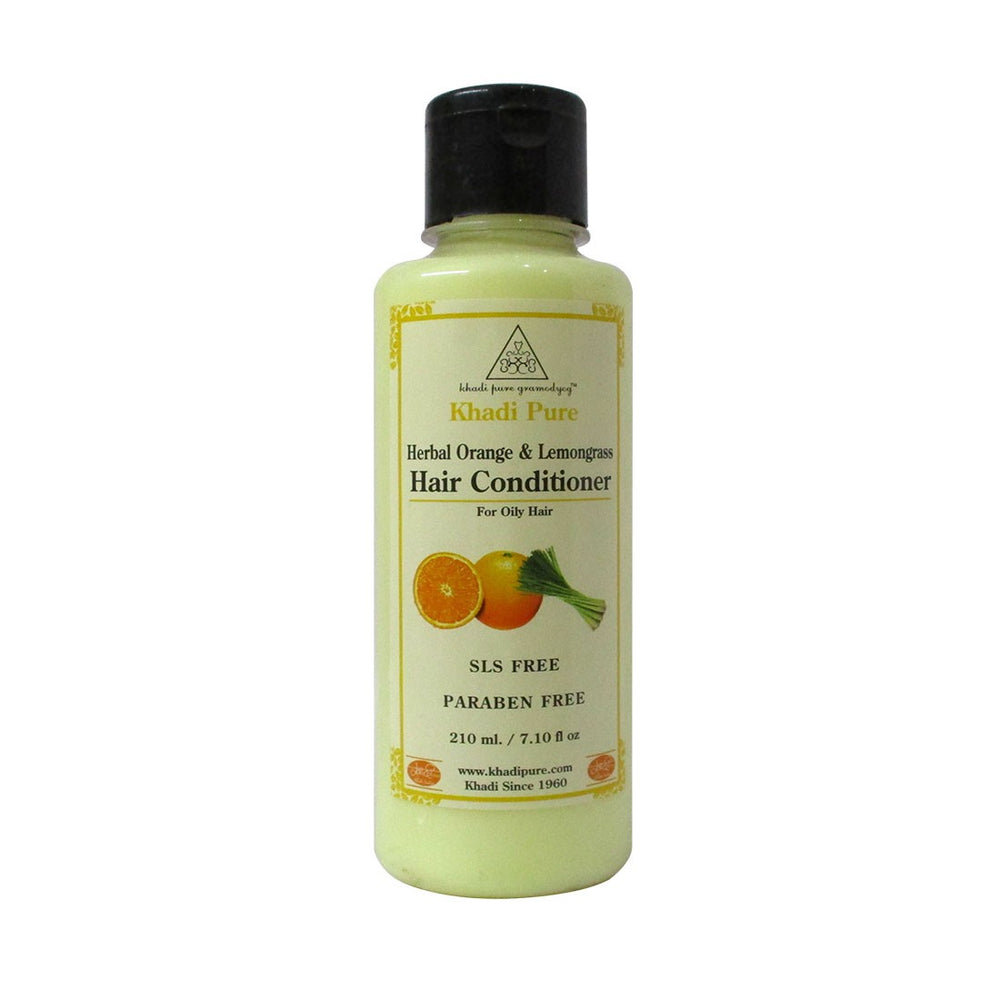 Herbal Orange & Lemongrass Hair Conditioner SLS-Paraben Free - 210ml-Khadi Pure