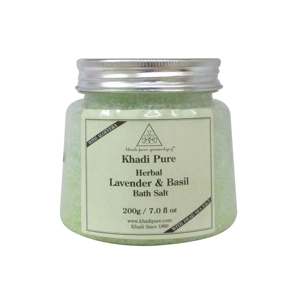 Herbal Lavender & Basil Bath Salt - 200g-Khadi Pure