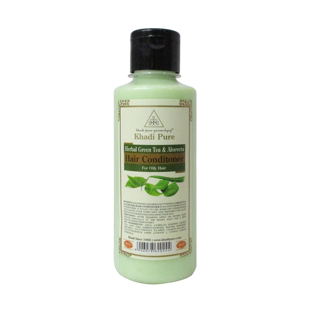 Herbal Green Tea & Aloevera Hair Conditioner - 210ml-Khadi Pure