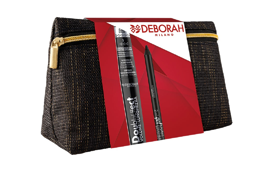 Deborah Milano Black Pochette With Double Effect Mascara (7002) + 2-In-1 Kajal&Eyeliner Gel Pencil - Black (004693)