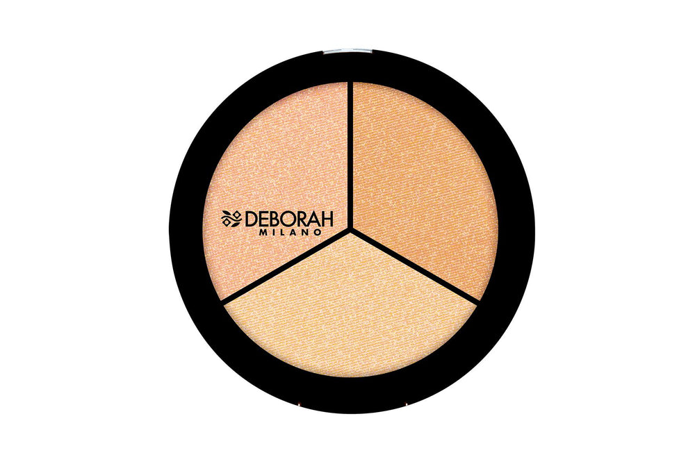 Deborah Milano Trio Highlighter Palette (Pearly Beige / Gold Amber / Sparkling Rose)
