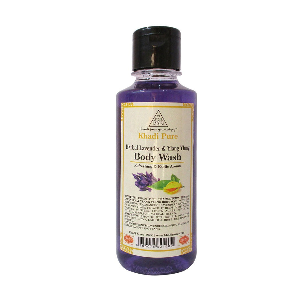 Herbal Lavender & Ylang Ylang Body Wash - 210ml-Khadi Pure