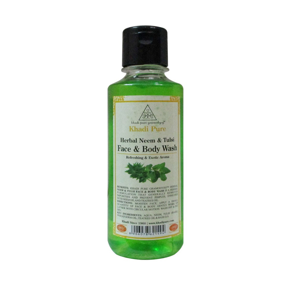 Herbal Neem & Tulsi Face and Body Wash - 210ml-Khadi Pure