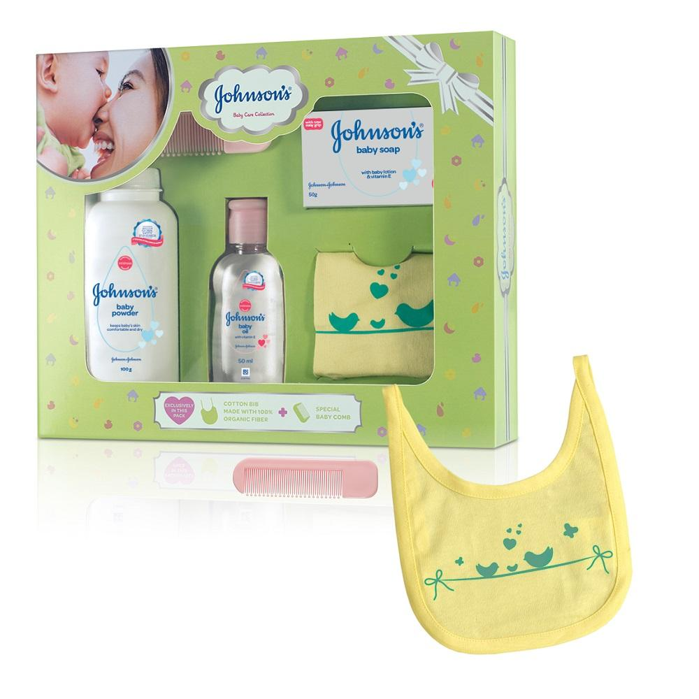 Johnson's Baby Care Collection Baby Gift Box  With Organic Cotton Bib & Baby Comb - 5 Gift Items