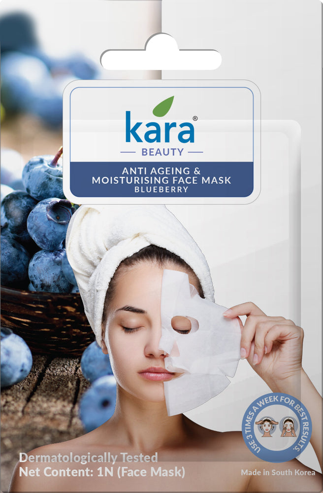Kara Anti Ageing & Moisturising Blueberry Sheet Face Mask
