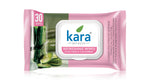 Kara Cleansing and Refreshing Face Wipes with Cucumber and Aloe Vera - With Lid (30 wipes) (Pack of 2)