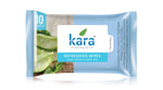 Kara Cleansing and Refreshing Face Wipes with Aloe Vera and Mint Oil (10 wipes) (Pack of 4)