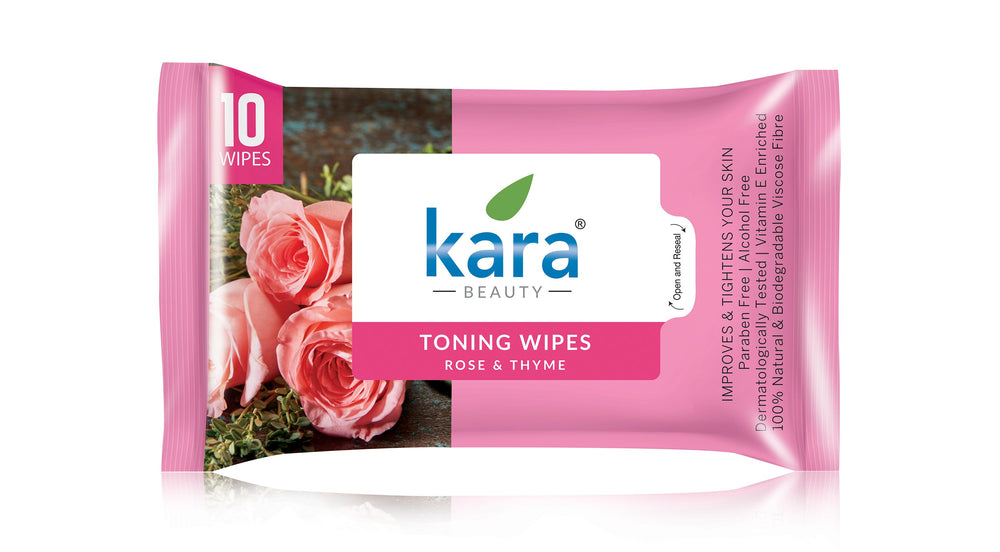 Kara Toning Wipes with Rose and Thyme 10 Wipes (Pack of 3)
