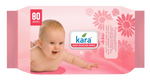 Kara Baby Cleansing Wipes 80 Wipes (With Lid)