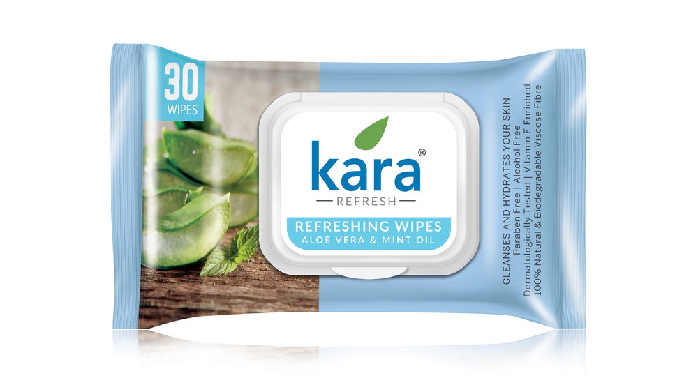 Kara Cleansing and Refreshing Face Wipes with Aloe Vera and Mint Oil - With Lid (30 wipes) (Pack of 2)