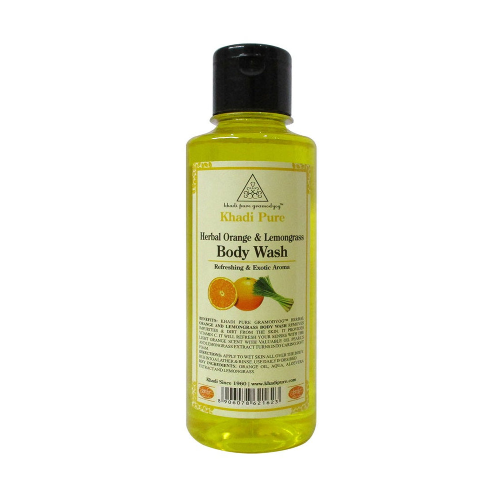 Herbal Orange & Lemongrass Body Wash - 210ml-Khadi Pure