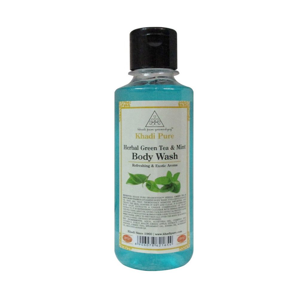Herbal Green Tea & Mint Body Wash - 210ml-Khadi Pure