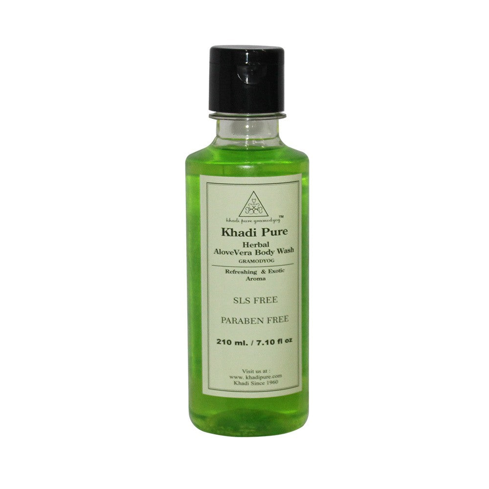 Herbal Aloevera Body Wash SLS-Paraben Free - 210ml-Khadi Pure