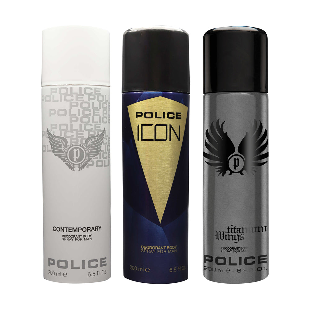 Police Contemporary + Icon + Titanium Wings Deodorant Spray - For Men 600ml