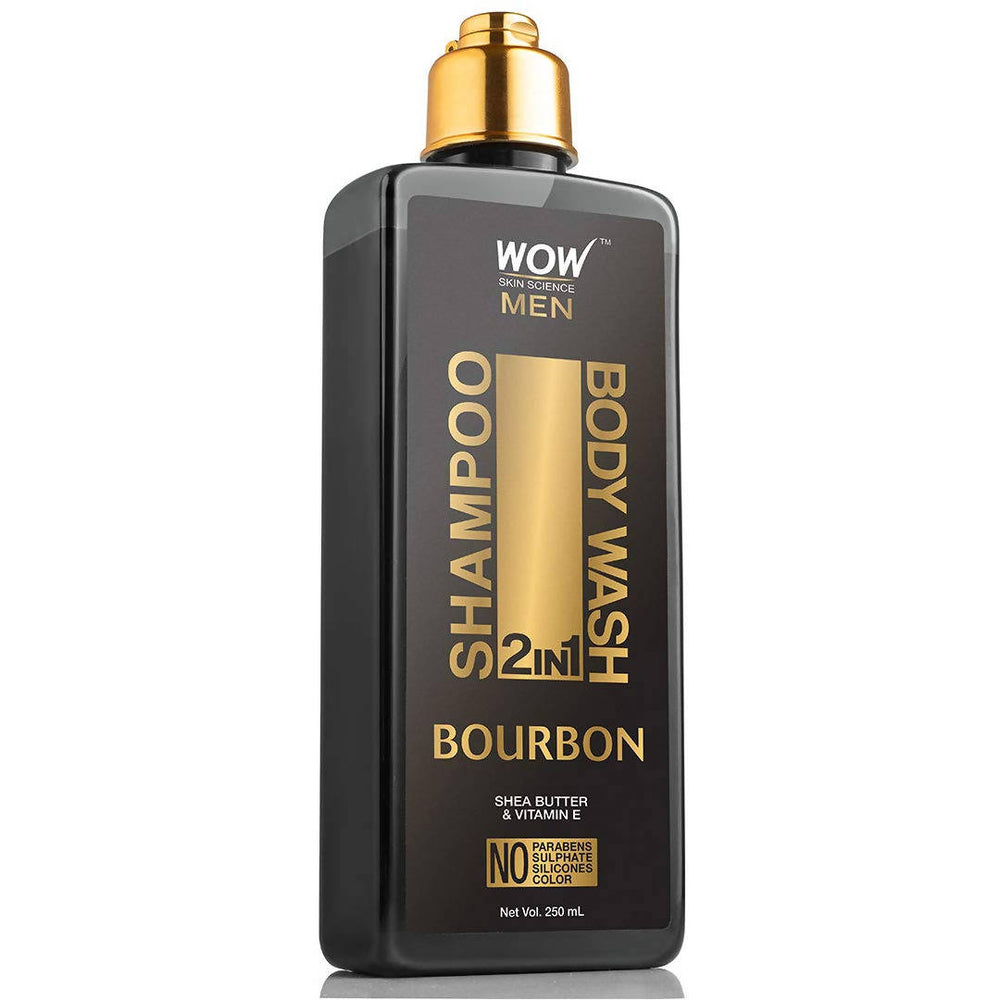 WOW Skin Science Bourbon 2-in-1 Shampoo + Body Wash - No Parabens, Sulphate, Silicones & Color (250 mL)
