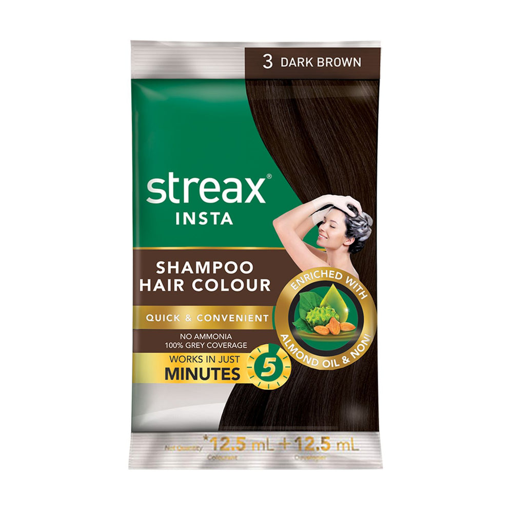 Streax Insta Shampoo Hair Colour for Men & Women | Enriched with Almond Oil & Noni Extracts | Long-Lasting Instant Colour | Dark Brown | 25 ml