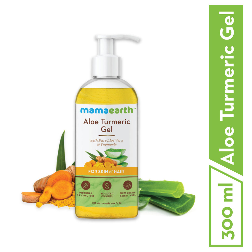 Mamaearth Aloe Vera Gel From 100% Pure Aloe Vera Plant For Face, Skin & Hair with Turmeric & Vitamin E 300 ml