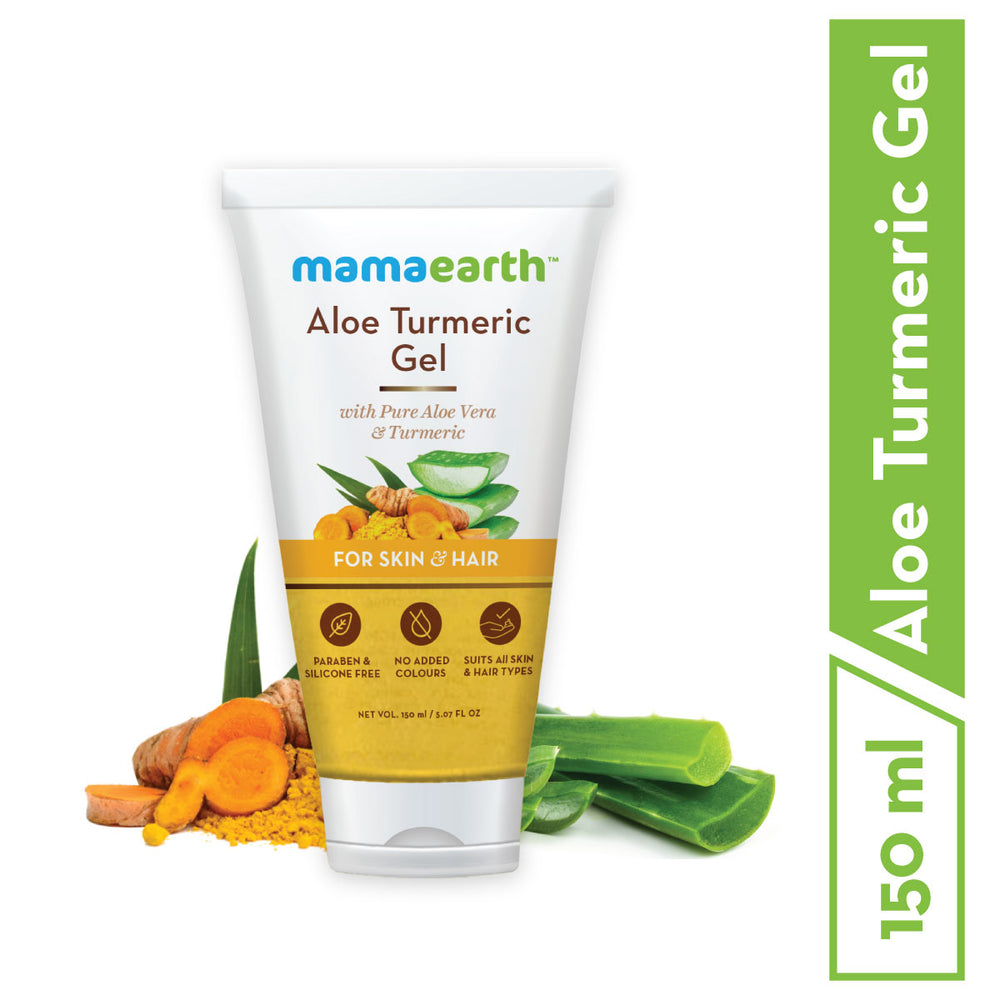Mamaearth Aloe Vera Gel From 100% Pure Aloe Vera Plant For Face, Skin & Hair with Turmeric & Vitamin E 150 ml