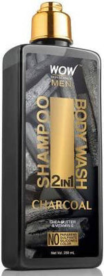 WOW Skin Science Charcoal 2-in-1 Shampoo + Body Wash - No Parabens, Sulphate, Silicones & Color (250 mL)