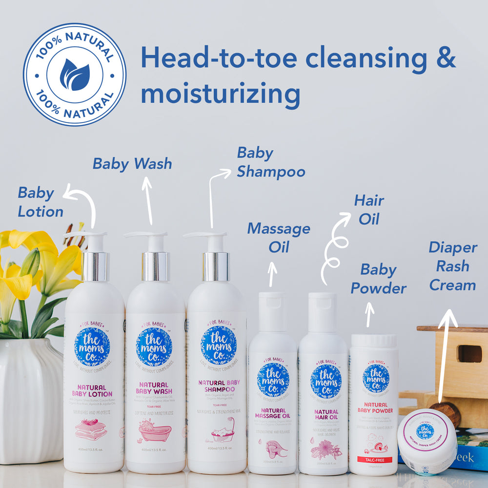 The Moms Co. Everything For Baby Suitcase Gift Box - All natural Skin and Hair Care Baby Products